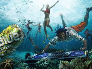 обои Подводная вечеринка,   BLUE coco-ananas фото