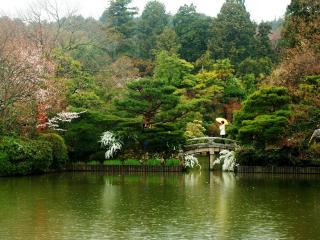 обои Японский парк с водоемом и мостиком фото