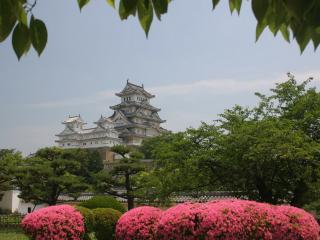обои Белый японский дом на холме фото
