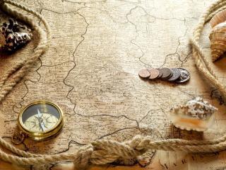 обои Веревка,   ракушки,   компас и деньги на карте фото