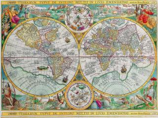обои Иллюстрированная карта полушарий и звездного неба фото