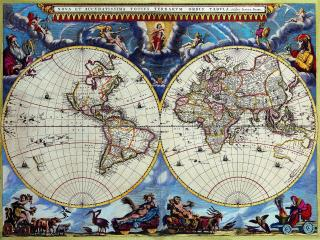 обои Иллюстрированная старинная карта полушарий фото