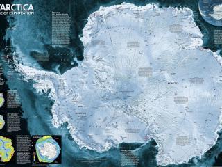 обои Карта Антарктики с описанием фото