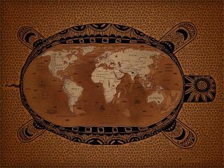обои Карта земли в оболочке с орнаментом фото