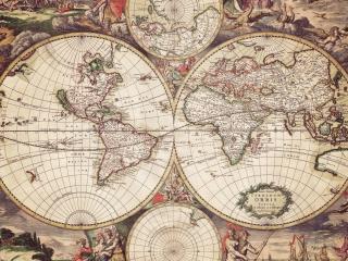 обои Карта Земли в четырех ракурсах фото