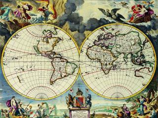 обои Карта земли украшенная рисунками фото