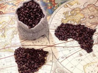 обои Карта кофейных континентов фото
