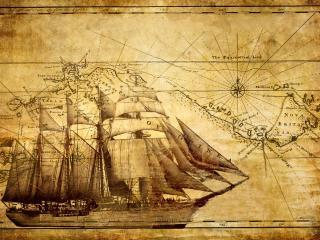 обои Карта с нарисованным кораблем фото