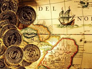 обои Карта с нарисованным кораблем и монеты фото