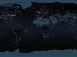 обои Темная карта со свечением ночных городов фото