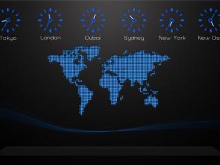 обои Карта и время суток в разных городах фото