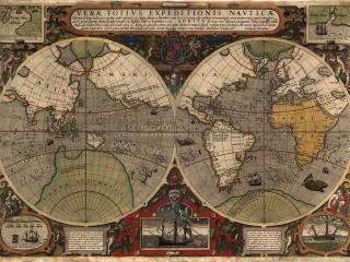 обои Карта полушарий с иллюстрациями фото