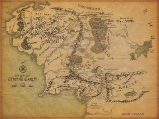 обои Карта с реками,   озерами,   горами и морем фото