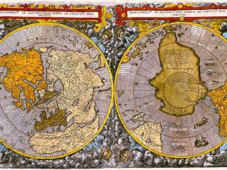 обои Карта с северным и южным видом фото