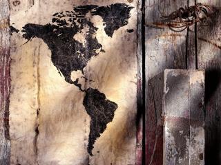 обои Карта северной и южной Америки приколотая на досках фото
