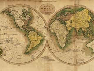 обои Карта старинная в двух полушариях фото