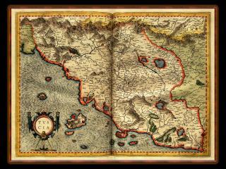 обои для рабочего стола: Старинная карта местности в развернутой книге