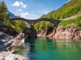обои Швейцария мост в горах фото
