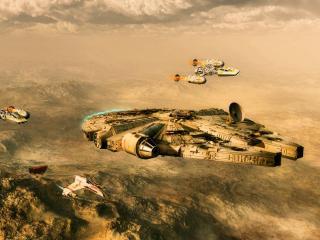 обои Star wars,   космические корабли над планетой фото