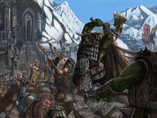 обои Warhammer,   нападение орков на крепость фото