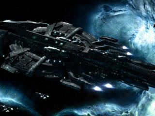 обои для рабочего стола: Громадный космический корабль в космических просторах