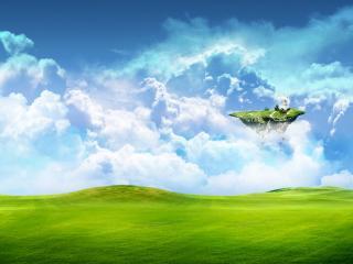 обои Кусочек земли парит в воздухе фото