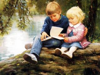 обои Дети на природе читают книжку фото