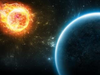 обои Огненный шар в космосе фото