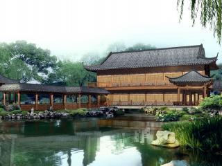 обои Небольшой пруд, у зданий восточного стиля фото