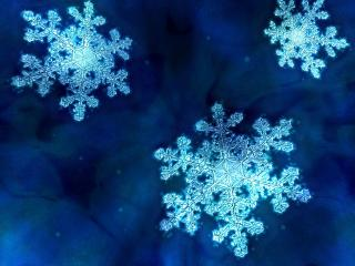 обои Три снежинки на синем фоне фото