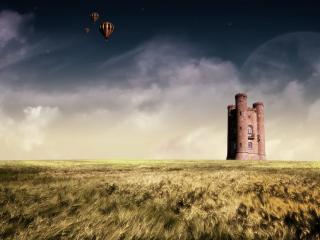 обои Затерянная крепость на поле фото