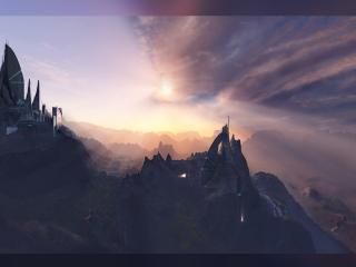 обои 3D реальность,   постройки в горах фото
