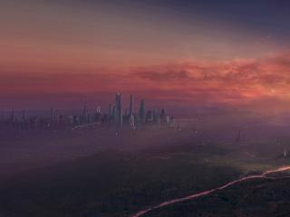 обои Город будущего на закате фото