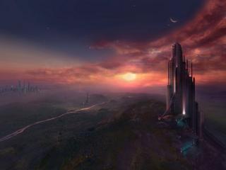 обои Город будущего,   здание,   просторы,   закат фото
