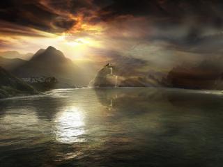 обои Природа,   озеро,   горы,   холмы,   закат в 3D фото