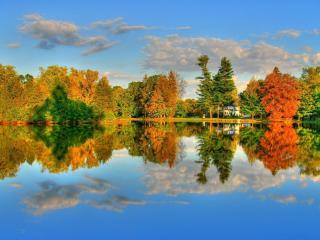 обои Небо,   озеро и осень фото