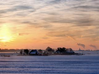 обои Вид зимнего подвечерья на деревне фото