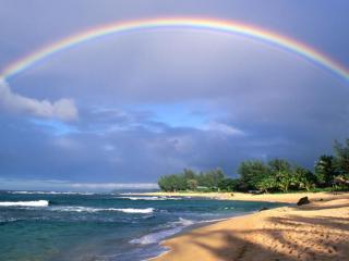 обои Красивая радуга у побережья фото