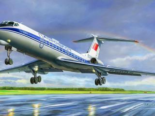обои Большой самолет Ту-134