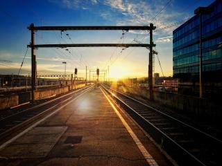 обои Закат на железной дороге фото
