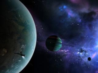 обои Космический корабль у большой планеты со спутниками фото