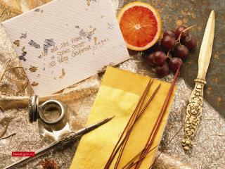 обои Письмо,   фрукты и набор предметов фото