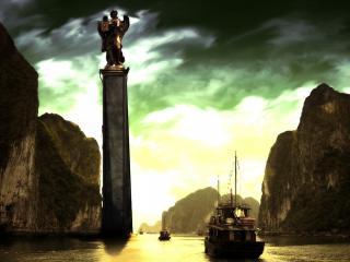 обои Статуя на постаменте в воде фото