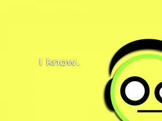 обои Смайлик и надпись - I know,   на желтом фоне фото