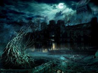 обои Темное поместье под светом луны фото