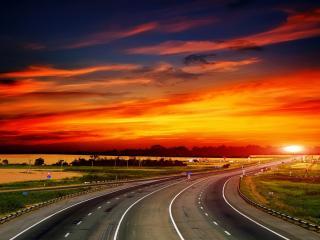 обои Панорамный вид автострады на закате фото