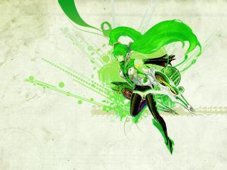 обои Векторный рисунок девушки в зеленых тонах фото