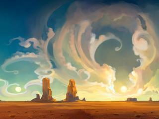 обои Рисунок неба и скал на песке фото