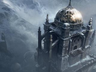 обои Мрачный храм в горах фото