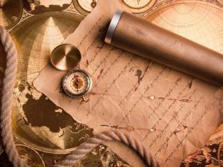обои Письмо на карте,   компас и подзорная труба фото